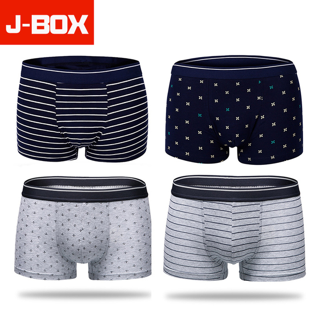 4Pcs/lot Soft Panties Mens Underwear Boxers 10 Colors Cotton Boxer Men Solid Print Dot Striped Shorts Underpants Male Underwear