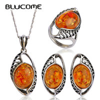 Vintage Oval Natural Stone Jewelry Sets Rhinestone Antique Silver Plated Wedding Engagement Earrings Pendant Necklace Ring