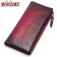2018 New Arrival Women Wallet Genuine Leather Vintage Female Day Clutches Long Design Clutch Two Fold Purse Card Holder