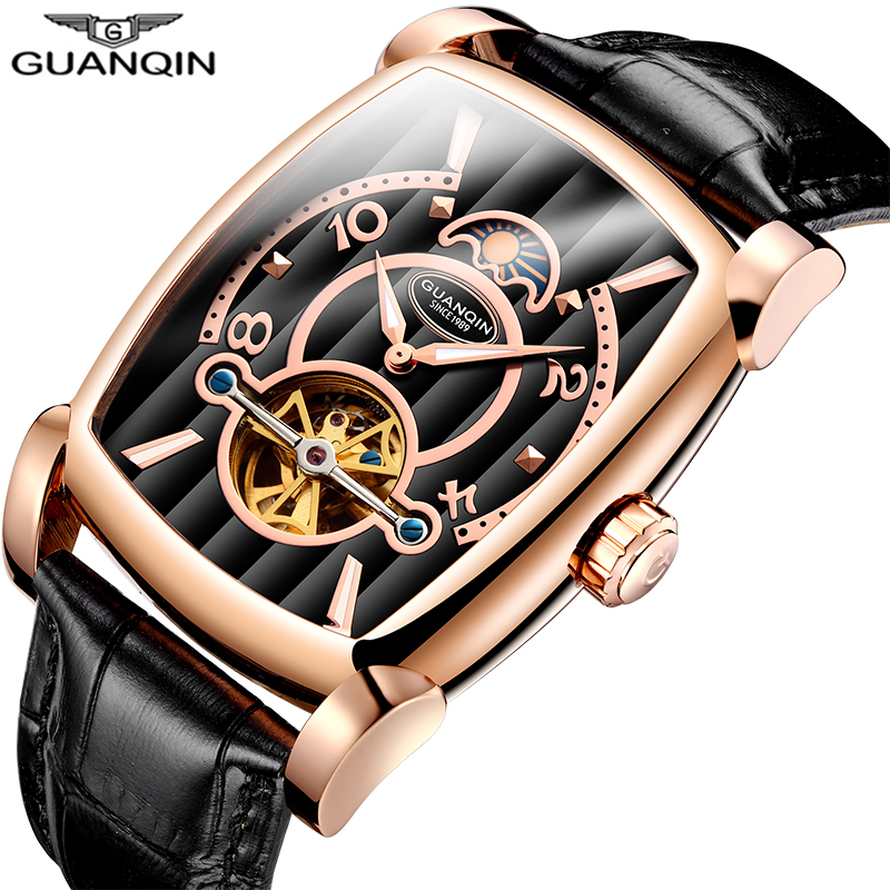 Rectangle Tourbillon Mechanical Watches GUANQIN High end Automatic Watch Men Moon Phase Luminous Sapphire Leather band Watch menRectangle Tourbillon Mechanical Watches GUANQIN High end Automatic Watch Men Moon Phase Luminous Sapphire Leather band Watch men