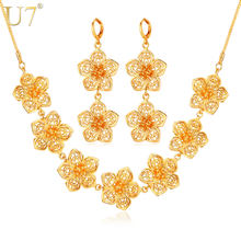 U7 Indian Flower Jewelry Set Gold Color Trendy Party Long Earrings Charms Necklace Set For Women Gift S686(China)