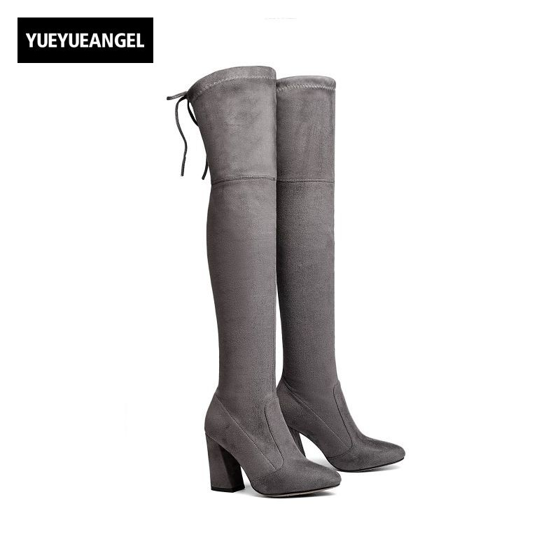 Autumn Womens Over Knee Boots Faux Suede Super High Hoof Heel Female Shoes Fashion Footwear Pointed Toe Plus Size43 Stretch Slim ppnu woman winter nubuck genuine leather over the knee snow boots women fashion womens suede thigh high boots ladies shoes flats