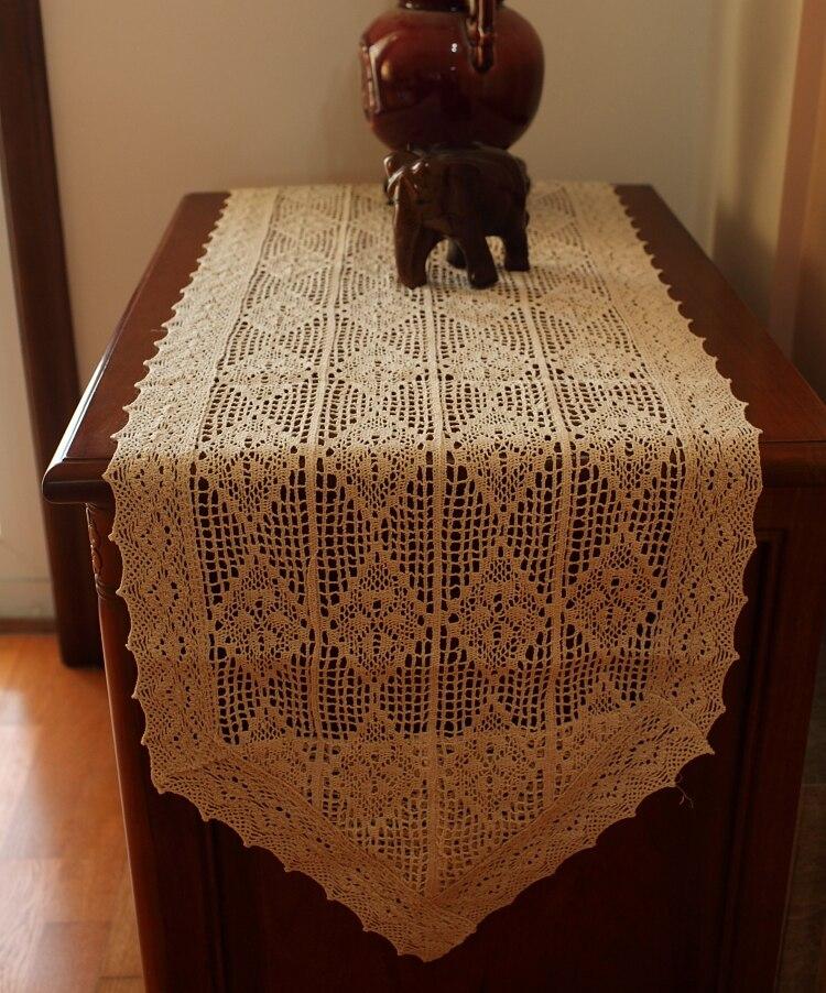 Mantel del cordón del ganchillo del algodón rectángulo vintage ...