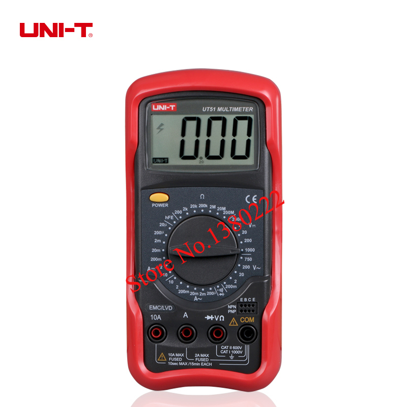 UNI-T UT51 digital multimeter resistance measurement diode/transistor test digital display AC/DC multimeter Ammeter  цены
