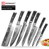 KEEMAKE 7PCS Japanese Damascus VG10 Steel Kitchen Knives Set Utility Chef Paring Knife Sharp G10 Handle Cooking Cutter Tools