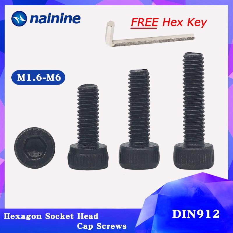 20/50Pcs M1.6 M2 M2.5 M3 M4 M5 DIN912 Black High-strength 12.9 Level Alloy Steel Screw Hexagon Socket Head Cap Screws HW024