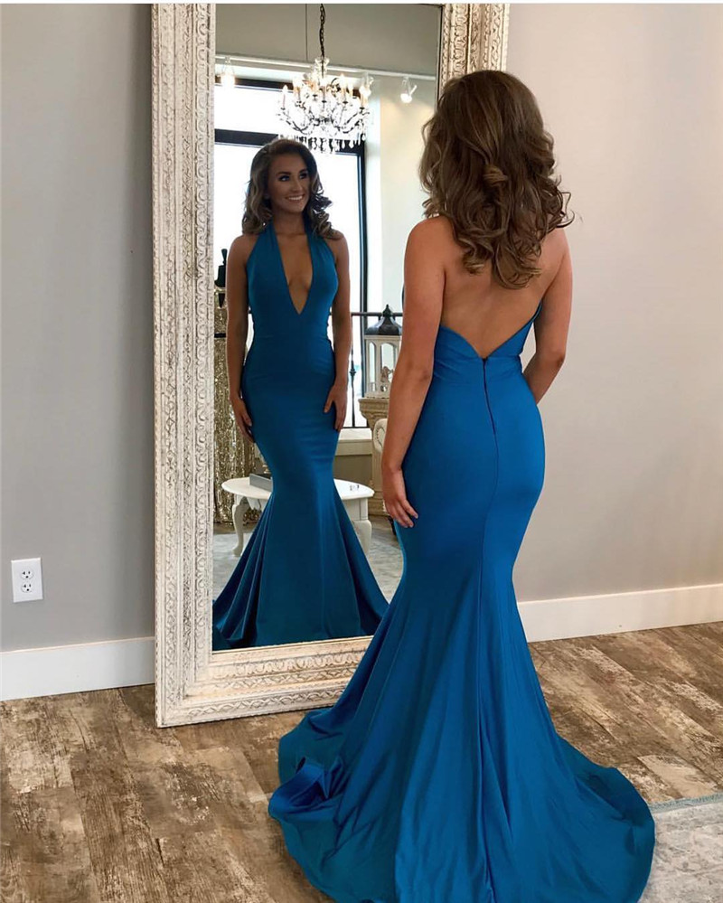 New Arrival 2019 Sexy Deep V Neck   Prom     Dresses   Custom made Long   Prom   Party Gowns Cheap Plus Size Vestidos de fiesta de noche