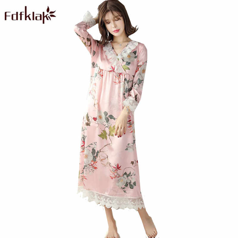 Fdfklak Spring Summer Dress for Women Sweet Lace Sleepwear Nightdress Ladies  Big Size Nightgown Loose Night 6093bdf31