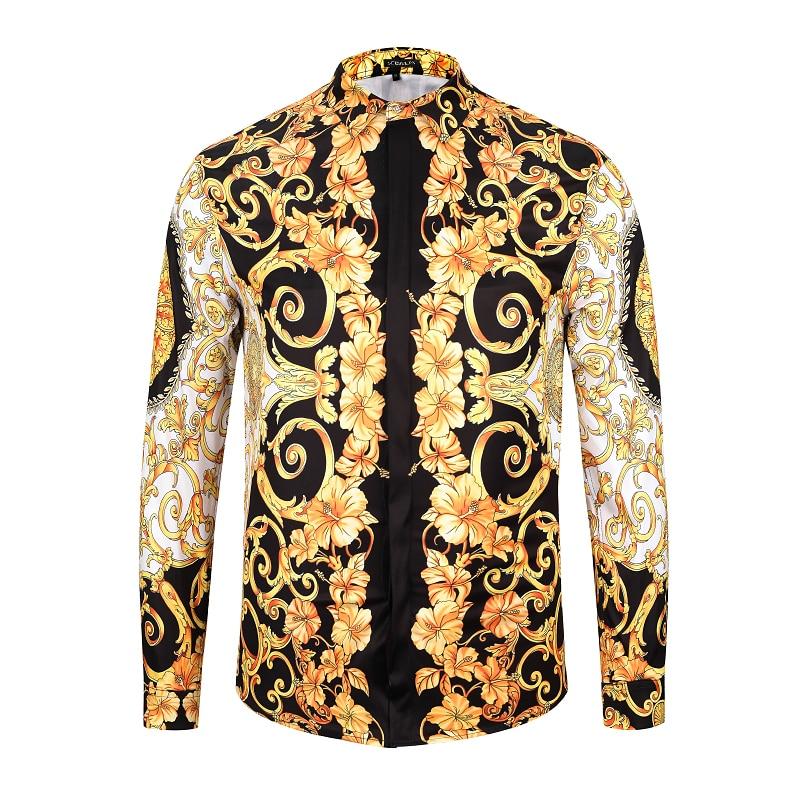 Seestern Brand Men's Shirts Printing Medusa head Morning Glory Plant Fashion Man Long Sleeve Shirt Western Style Tops Asia Size