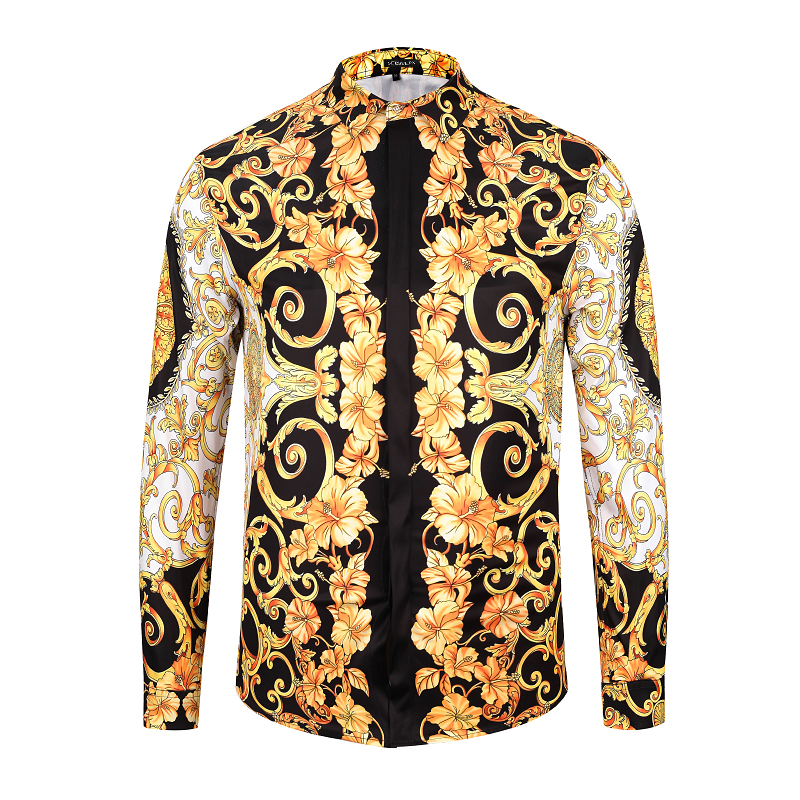 Seestern Brand Men's Shirts Printing Medusa head Morning Glory Plant Fashion Man Long Sleeve Shirt Western Style Tops Asia Size