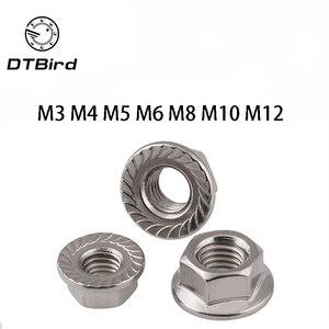 50pcs/lot DIN6923 M3 M4 M5 M6 M8 M10 M12 304 Stainless Steel Hexagon Flange Nuts Pinking Slip Locking Lock Nut