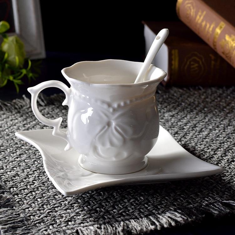 201-300 ml European coffee cup dish relief ceramic set flower tea black