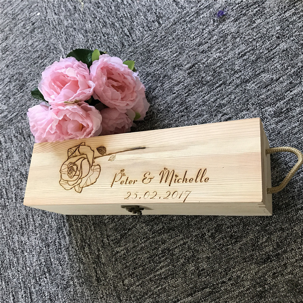 Personalized Rustic Ceremony Wine box, Wedding Wine Bottle Holder, Wedding Wine Box, Custom Name and date Wedding Favor Gift Box