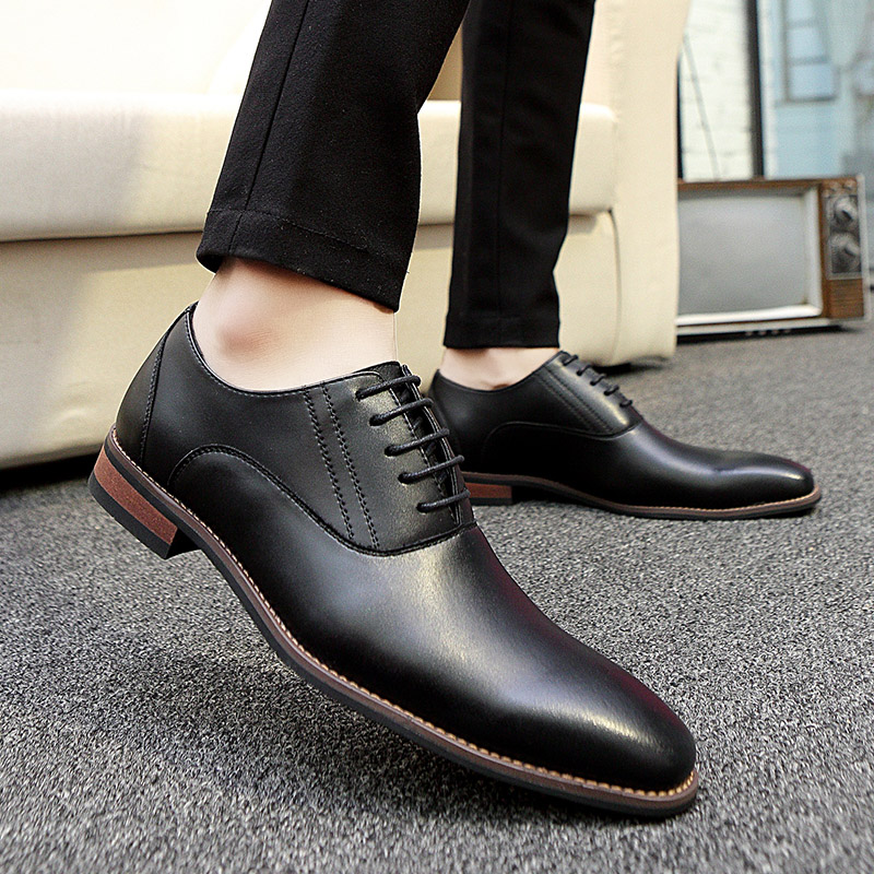 2018 Fashion Men Office Shoes genuine Leather Men Dress business Shoes casual Male Soft lace up Wedding Oxford party Shoes k3