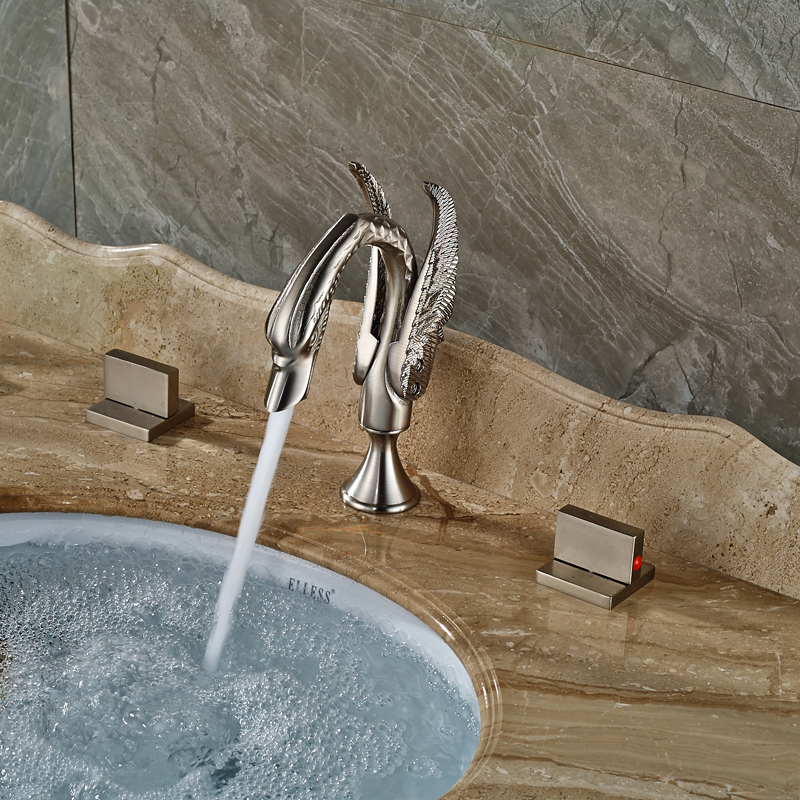 Two Square Handles Swan Lavatory Sink Basin Faucet Brushed Nickel Deck Mounted Mixer Taps