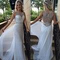 Nueva llegada que rebordea blanco Unique Prom vestidos Scoop opacidad volver elegante noche vestido de fiesta vestido de formatura