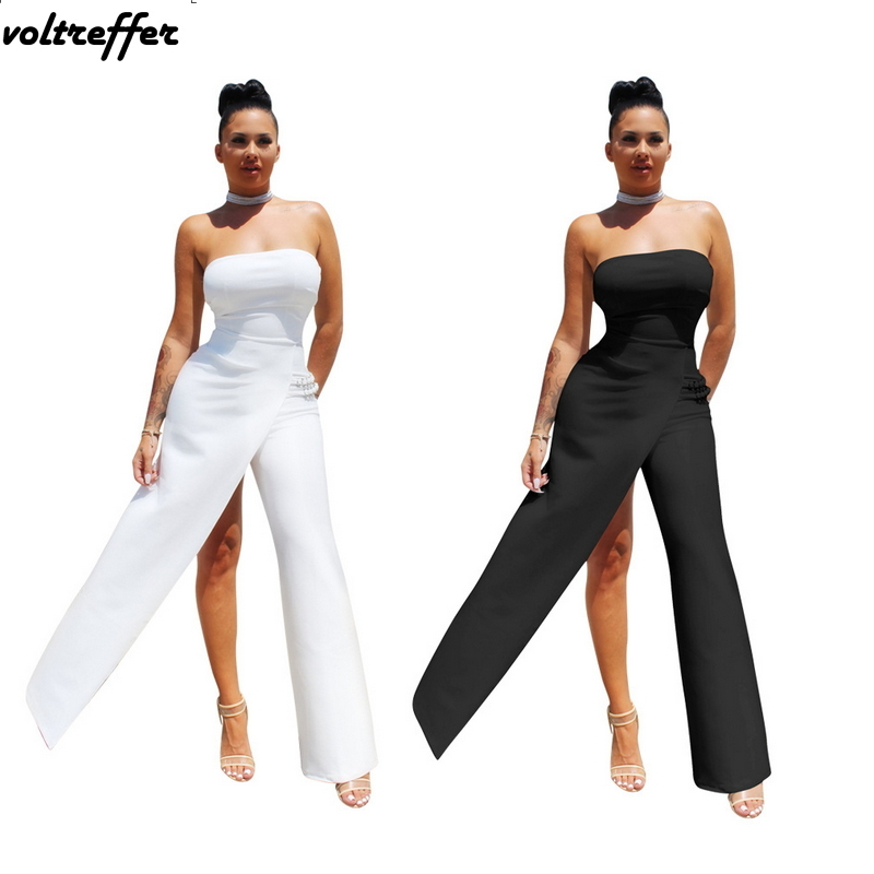 Strapless Jumpsuit Formal Work Wear Elegant Off Shoulder Backless Asymmetrical Rompers 2018 Summer Sexy Macacao Feminino Club