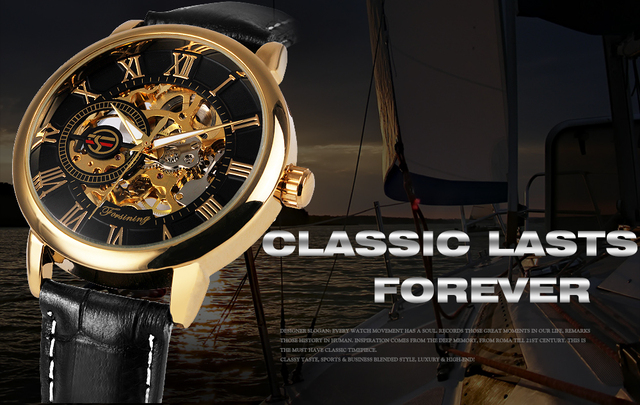 2018 FORSINING 3D Logo Black Gold Men Mechanical Watch Montre Homme Man Watches Top Brand Luxury Leather WINNER Skeleton Design 1