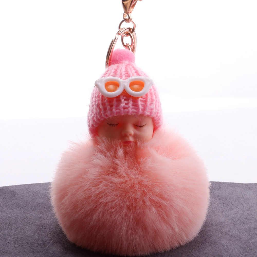 Óculos de Sol bonito Dormir Baby Doll Mulheres Pompom Fofo pom pom Keychain llavero chaveiro Bola Saco De Pele De Coelho Chaveiro Porte clef