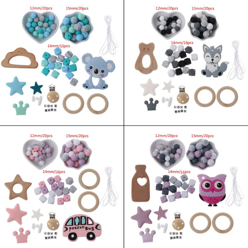1 Set DIY Baby Teether Toy Nursing Necklace Silicone Bracelet Silicone Beads Teething Ring Wooden Pacifier Clip For Infant