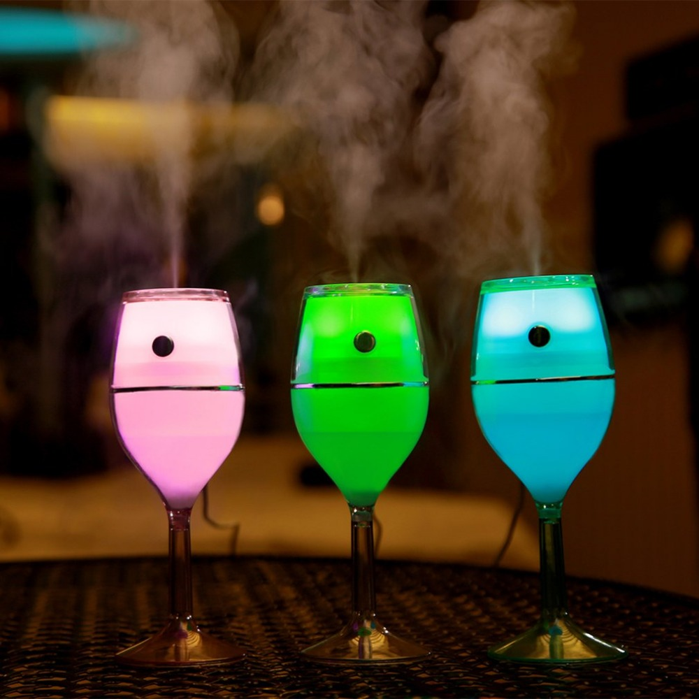 Unique 80ml Air Humidifier Red Wine Cup USB Colorful Night Lamp No Noise Mini Portable Air Cleaner for Home Car Use