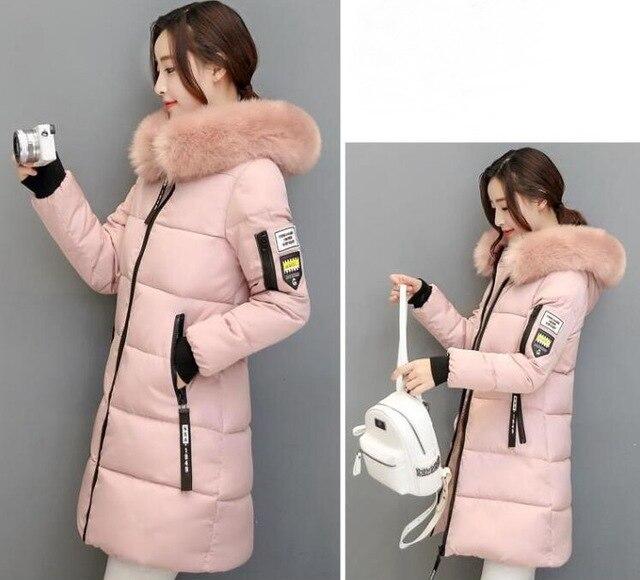 2018 autumn Winter women fur collar Long hoodie Down Jacket Plus Size Long Hooded Duck Down thick Parkas