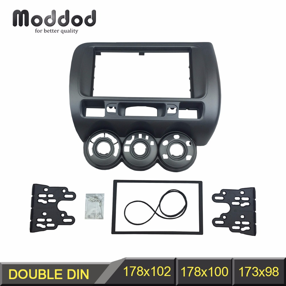 Double Din Radio Fascia for Honda Jazz 2002 2008 City Stereo Panel DVD Installation Trim Kit
