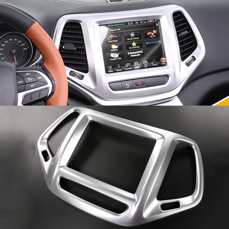 2016 car styling abs navigation panel sequins interior dashboard decorative frame cover for jeep. Black Bedroom Furniture Sets. Home Design Ideas