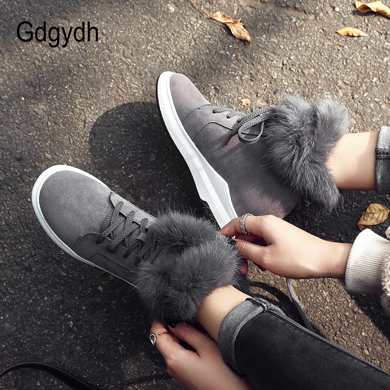 Gdgydh Height Increasing Ladies Snow Boots Black Real Fur Winter Boots Plus Size 43 Women Comfortable
