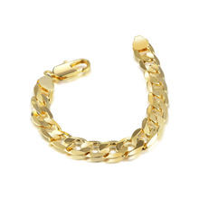 exaggerated men bracelet 24K gold filled fine jewelry cool link chain for gifts