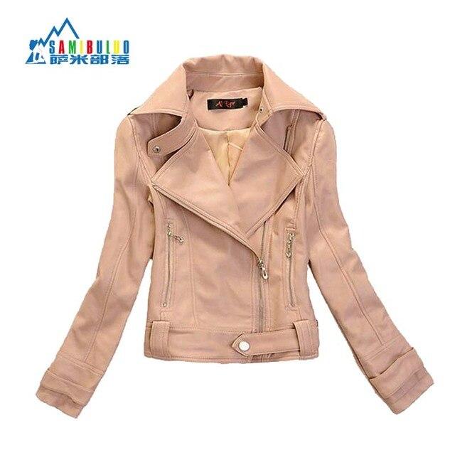 Осенью Новый женская Молнии Розовый PU Кожаная Куртка Отложным Воротником Леди Кожаное Пальто Верхняя Одежда