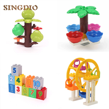 SINGDIO DIY Blocks Assembled toy Large Particles Building Blocks Ferris Wheel Tree Roof Educational Toys Compatible with dduplo