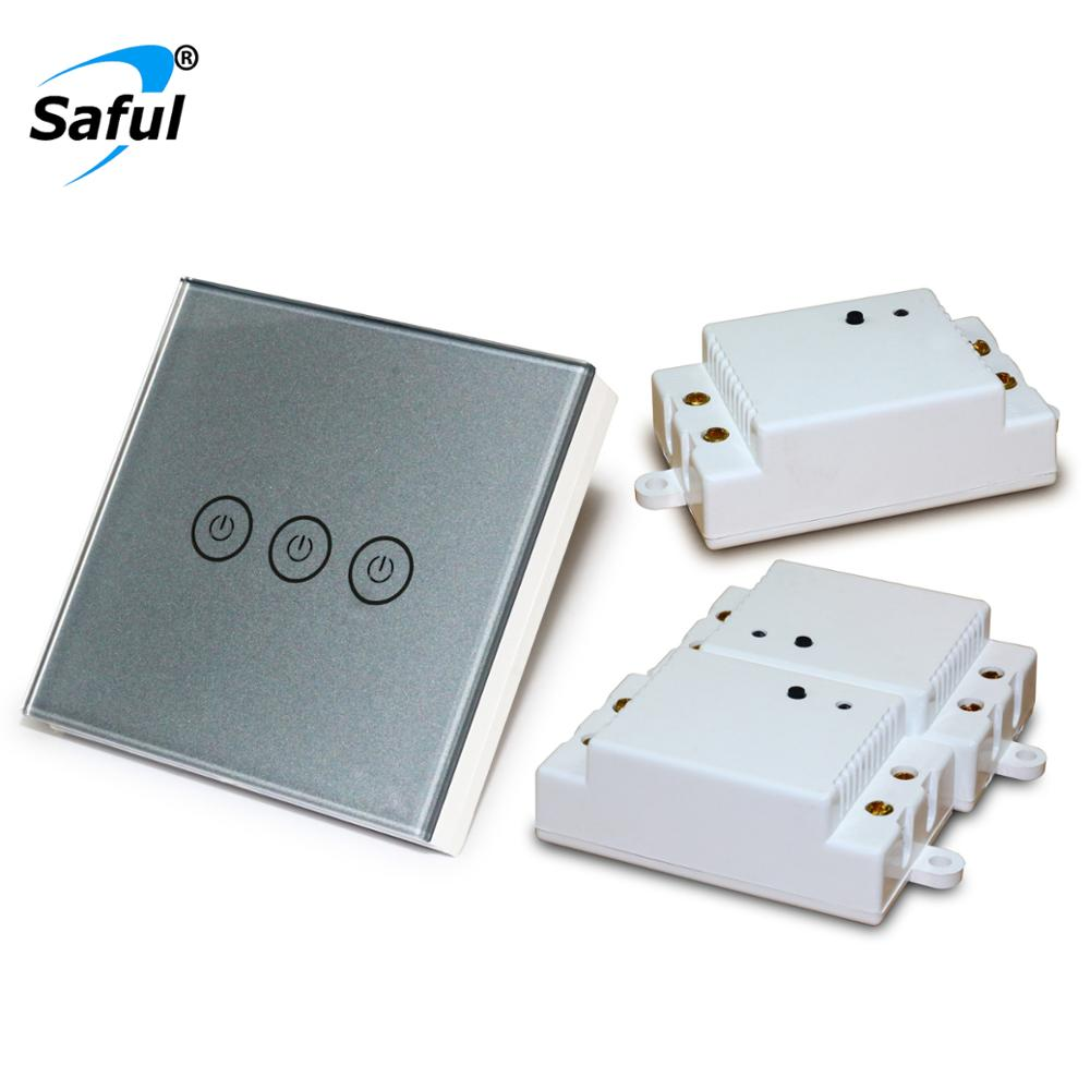 Saful Wireless Touch Light Switch Painting Customized 3 Gang 3 Way Switch Remote Control LED Indicator Touch Switch