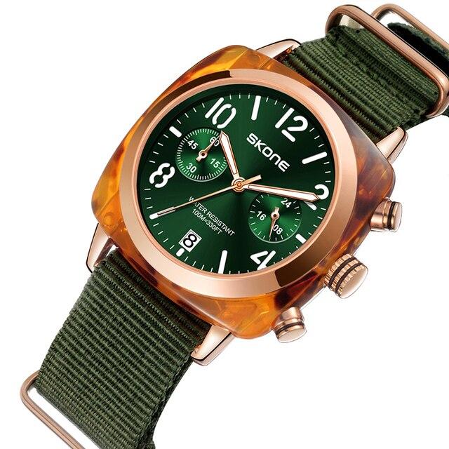 קלאסי ניילון רצועת גברים ספורט שעונים למעלה מותג יוקרה Skone קוורץ לוח שעון סטופר זכר צבאי שעוני יד