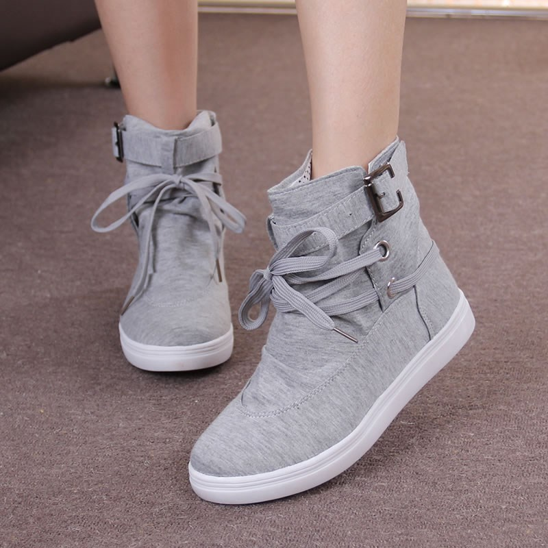 Women Sneakers Autumn 2018 Spring Canvas Women Casual Shoes Lace-Up Women Fashion Boots Platform Flats High Top Women Shoes