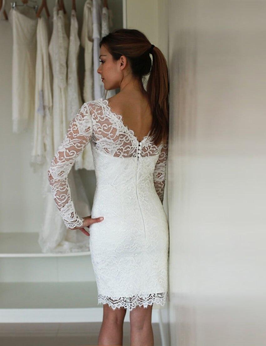 sexy sheath white lace long sleeve short wedding dresses vestidos de noiva curtos elegant popular hot