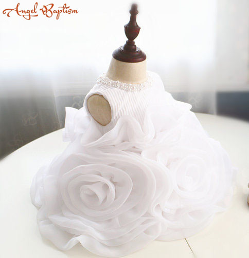 Pure White Flower Girl Dress baby christening dress beaded pearls ruffled baptism gown ball gown puffy tutu baby birthday outfit