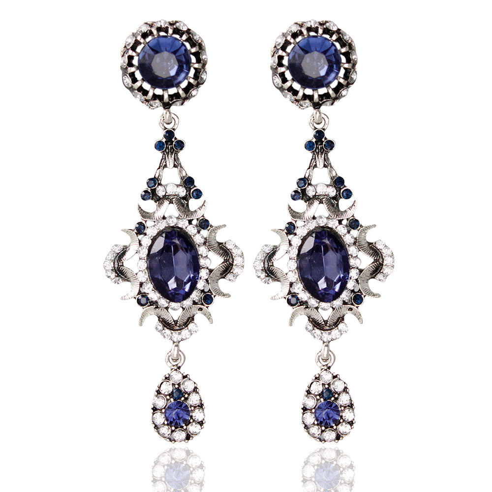 Floral Shape Silver Plated Blue Crystal Long Dangle Drop Earrings Wedding  Bridal Chandelier Party Fantaisie Femme
