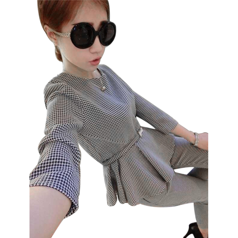2018 Newest Autumn Women Casual Suits Three quarter Sleeve O-neck Houndstooth Pattenr Pu ...