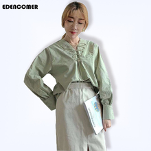 EDENCOMER 2019 New Spring Wear Design with V-collar Shirts Office Lady Cotton and Hemp Pure Color Shirt Women Long Sleeve Tops