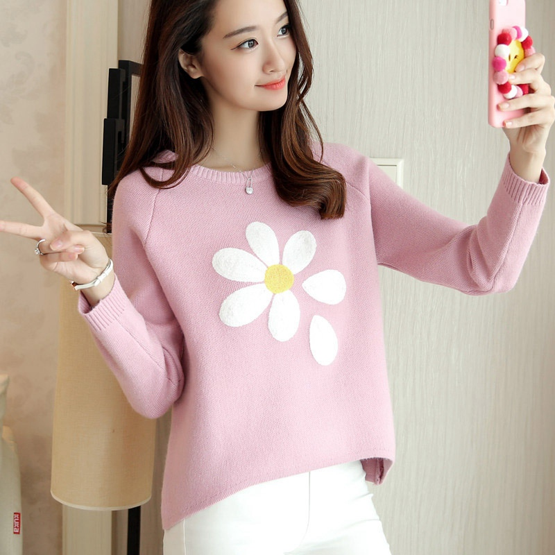 Skyesky Brand New Designer Cute Lolita Sweater For Women Fashion Flower Knitted Pullovers And Sweater Knitting Tops SK170