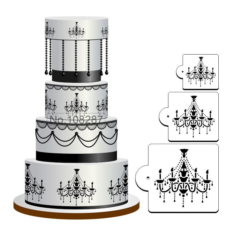 Chandelier cake stencil set for cookies and cupcake decoration chandelier cake stencil set for cookies and cupcake decoration fondant plastic stencil template mold decorating tools st 348 in cake molds from home aloadofball Image collections