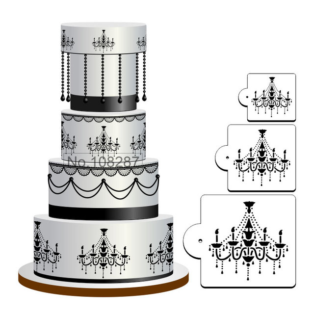 Chandelier Cake Stencil Set For Cookies And Cupcake Decoration Fondant Plastic Template Mold Decorating Tools