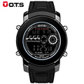 Brand OTS Cool Men Black Fashion Watch Outdoor Sport Rubber Strap Mens LED Digital Watches Relogio Masculino Special Boys Gift
