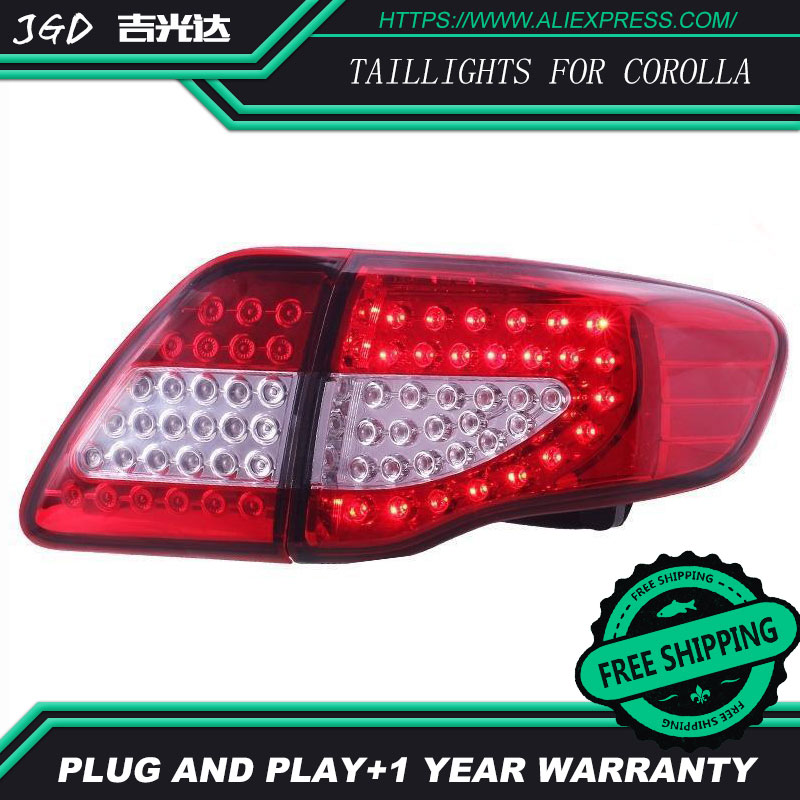 Car Styling tail lights for Toyota Corolla taillights 2007-2010 LED Tail Lamp rear trunk lamp cover drl+signal+brake+reverse
