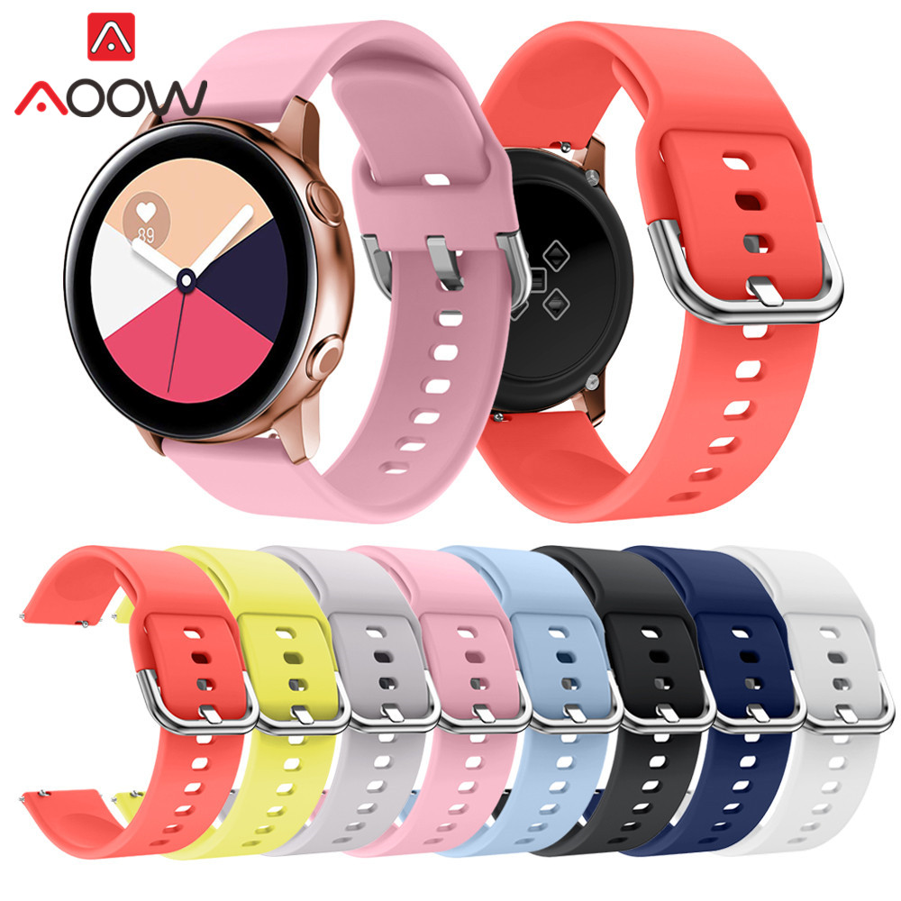 20mm Silicone Watchband For Samsung Galaxy Watch Active 42mm Garmin Amazfit Replace Bracelet Band Strap For SM-R810 Pink Orange