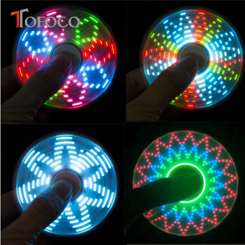 TOFOCO New Light Fidget Spinner Led Stress Hand Spinners Glow In The Dark Figet Spiner Cube EDC Anti-stress Finger Spinner Toy