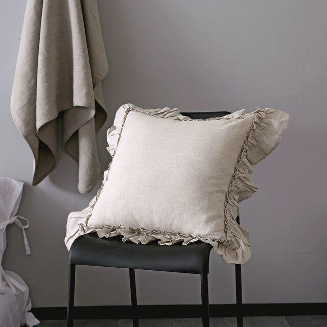 Vintage Ruffle Euro Sham Cover 100% Pure Linen Cushion Cover Linen  Pillowcase Free Shipping 1