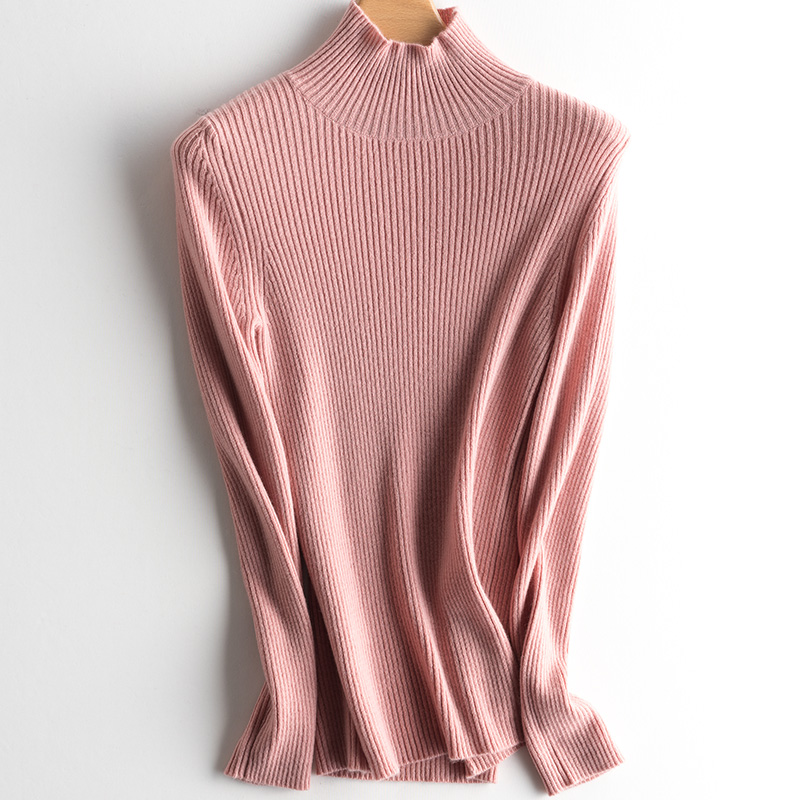 Women 100% Cashmere Pullover 2019 New Arrival Turtleneck Elasticity Sweater Female Warm Soft Basic Jumper Solid Slim Pull Femme-in Pullovers from Women's Clothing    3