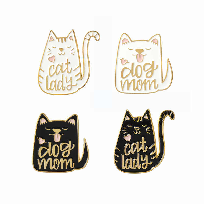 "Kartun Hewan Anjing dan Kucing Pin ""Wanita Kucing Anjing Ibu"" Enamel Pin Lencana Bros untuk Anjing Kucing Kitty kekasih Cute Fashion Perhiasan"